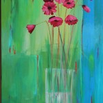 Bouquet fond vert 40x80