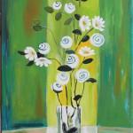 Roses fond vert 30x60